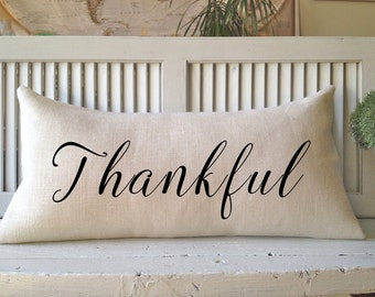 THANKFUL BURLAP PILLOW, Decorating,Pillows, * Insert Included*