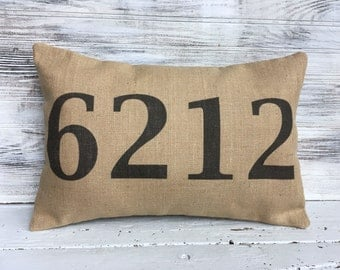 HOUSE NUMBER PILLOW, New Home, Home Decorating, Housewarming Gift,Personalized Pillow,Number Throw Pillow