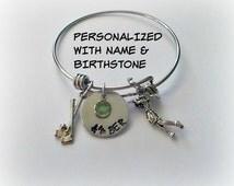 Personalized Female Golfing Golf Bangle Bracelet // Hand Stamped Name Birthstone Golfer Bracelet // Expandable Stainless Steel Bangle