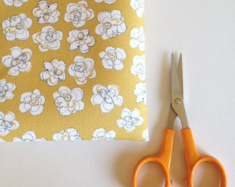 Mustard Yellow Flowers fabric, Small pretty floral fabric, fat quarter, Limited edition