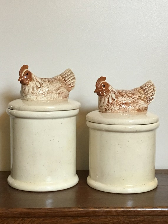 vintage ceramic hen canisters ceramic chicken by