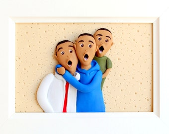 Custom family portrait, custom father and sons portrait, dad custom gift, personalized family picture, cartoon family portrait, clay family