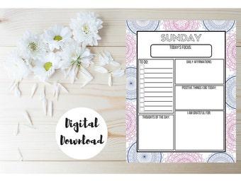 Gratitude Journal - 2017 Planner Printable - Letter Size Planner - Prayer Journal - Daily Planner 2017 - Planner Inserts 2017 - Agenda 2017