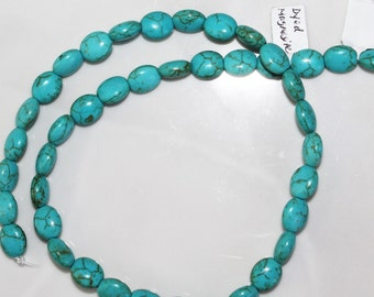 """16"""" Strand of 8 X 10mm Smooth Oval Magnesite ***Dyed Turquoise color Beads"""