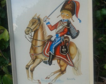 Vintage 1970's framed print- Hussar-12th Regimento, by Castaner