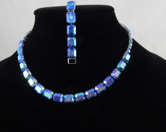 Weiss Blue Aurora Borealis Necklace & Bracelet Set