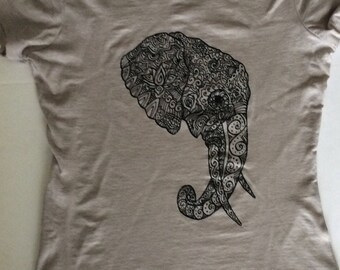 Elephant T-Shirt, Womens Next Level T, Original Art, Hand Drawn, Screen Printed