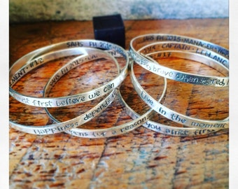 Personalized Bangle, Silver Quote Bracelet, Quote Bangle, Message Jewelry, Sterling Silver Bangle, Silver Stacking Bracelet