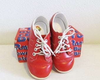 Vintage 1960's Red Children's Shoes / BUSTER BROWN Chipper Boys or Girls Size 5.5 Toddler Shoes