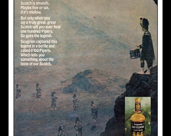 """Vintage Print Ad October 1969 : Seagram's 100 Pipers Scotch Whiskey Wall Art Decor 8.5"""" x 11"""" Advertisement"""