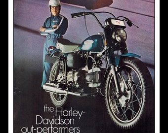 "Vintage Print Ad May 1969 : Harley Davidson Sprint 350 Motorcycle Wall Art Decor 8.5"" x 11"" Print Advertisement"