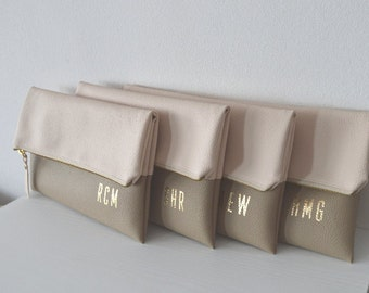 Set of 4 Monogrammed Clutches / Bridesmaids Gift / Personalized Evening Clutch Purses / Gold Monogram Print