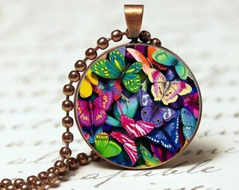 Bright multicolored butterflies  pendant on bronze chain necklace with mini tree of life charm