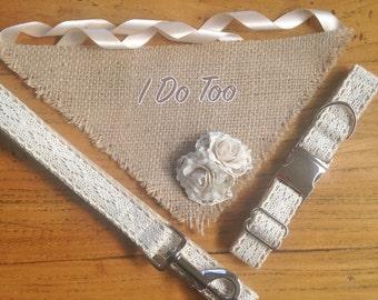 Super Cute Wedding Dog Attire Set. Adjustable Lace Dog Collar and Leash with Hessian Burlap Rose Bud Neck Scarf.