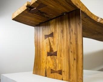Nakashima inspired live edge bench, live edge slab