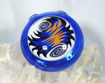 Orange x White x Black x Blue Wig Wag Disk Pendant