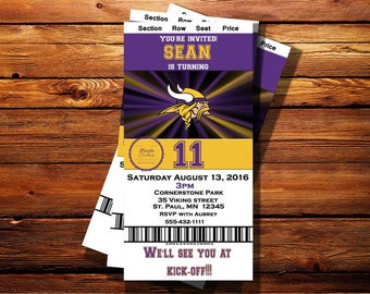Minnesota Vikings Ticket Birthday Invitation-Shipping Included on the Price for Print Orders- Can be customized to any occasion