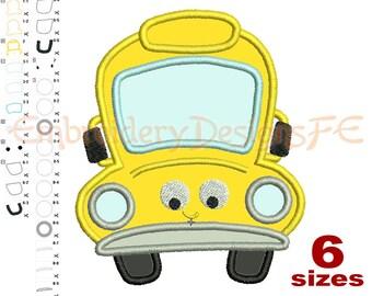 School Bus Applique Design - 6 sizes - Machine Embroidery Design File