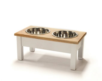 Dog Bowl Stand - Red Oak