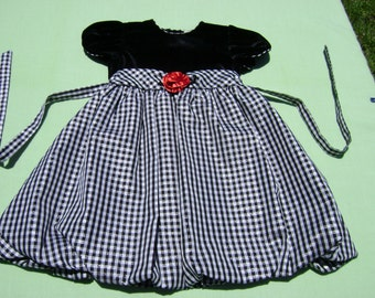 vintage youngland girls christmas dressy bubble dress size 5 bodice black velour rest is taffeta black white and silver thread check
