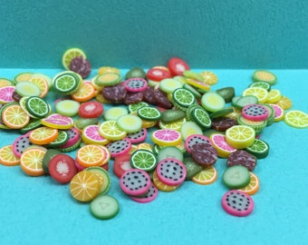 Polymer Clay Cane Mix Fruit Meat Fimo Cane Slices Mix Mini Fruit Meat Sweets Deco Kwaii Nail Art Decor (200 pcs by random) (50% off)