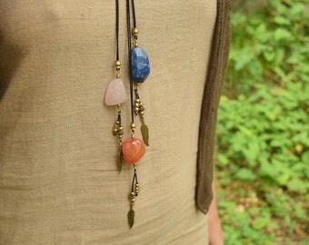 Crystal Necklaces, Boho Necklaces, Gemstone Necklaces, Lapis Lazuli Necklace, Brass Necklace, Indian Necklace, Ethnic Jewellery