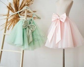 Baby TUTU Tulle Skirt/Newborn Baby Girl Infant Birthday Gift/Baby Photo Prop/Flower Girl Skirt/Junior Girl Kid Skirt In Blush Pink