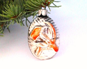 Bauble with hammer and sickle, red star / Vintage Soviet Glass Christmas tree decoration / Christmas ornament / Made in USSR, 1940s