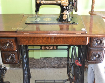 SINGER Troedle complete sewing Machine-Re-Worked-ALL Re-built and re-finished