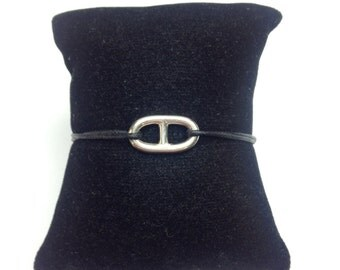 """Bracelet mesh marine """"hermes"""" on cord. 925 Silver"""