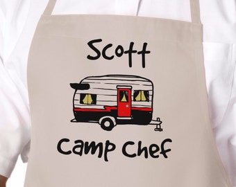 Camp Chef Camping Apron, Personalized Gift, Grilling Apron, Gift for Dad, Father's Day Gift, Camping Gift, Mens Gift, Camper Gift APR-003