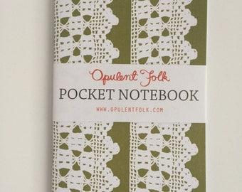 Pocket Notebook in Alice Crochet (Olive)