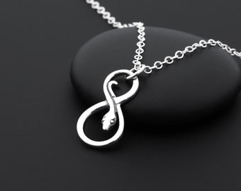Silver Snake Necklace,  Snake Jewelry, Sterling Silver, Serpent Necklace, Infinity Snake Necklace, Snake Charm, Snake Pendant, Reptile
