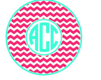 Two Tone/Color Chevron Circle Font Monogram. Personalize. Initials. Vinyl Decal. Sticker.