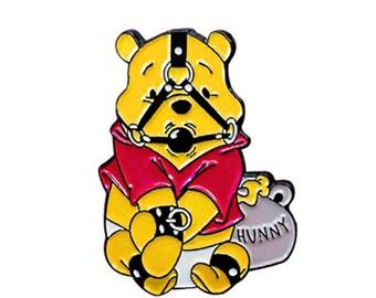 Winnie the Pooh Enamel Lapel Pin Bondage Bear BDSM Disney