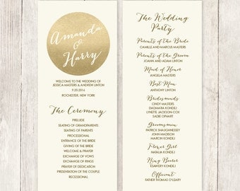 Gold Wedding Program / Gold Sparkle / Metallic Gold and Cream  / Bridal Party, Schedule of Events ▷ Printable File {or} Printed & Shipped