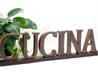 Word Sign Italian Word Sign Word Art Wood Sign Kitchen Decor Words