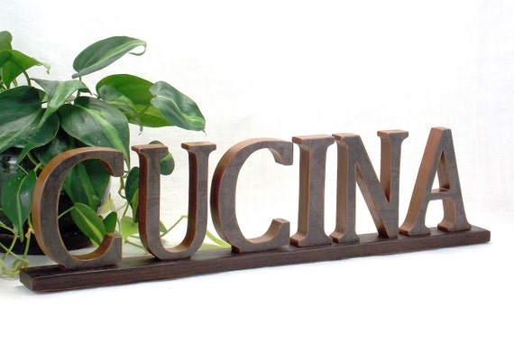Cucina sign kitchen sign wooden word sign italian word for Kitchen letters decoration