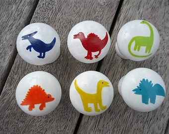 Handpainted Wooden Drawer Dinosaur Knobs - Set of 6