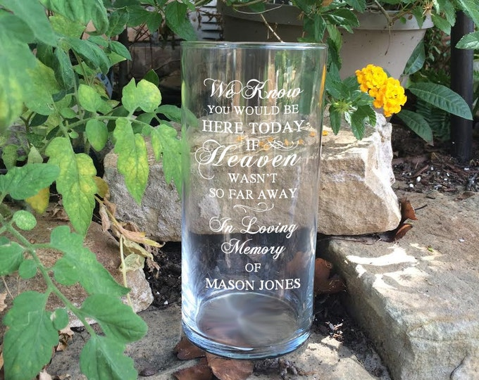 Featured listing image: Personalized Memorial Vases - In Loving Memory Vase -Floating Wedding Memorial Candle - Memorial Candle - Engraved Memorial Cylinder