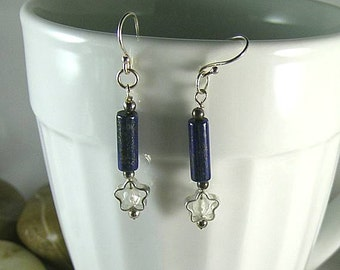 Lapis Lazuli Stripes and Moonstone Stars Earrings