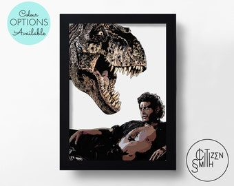 Jurassic Park Art Print Movie Poster Design Dinosaur wall