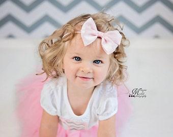 Baby Bow Headband, Grosgrain Ribbon double tuxedo bows, Baby Pink Bow, Baby Cream Bow, Polka Dot Bow Headband, Grosgrain Tuxedo Bow