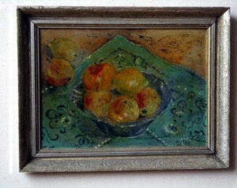 Oil painting still life with apples