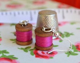 Miniature Bobbin Earrings. Seamstress / Sewing / Dressmaking