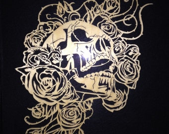 Scroll sawn Skull and Roses