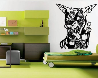 Wall Decal Room Sticker zombie dog movie ugly monster bedroom nursery art bo3000