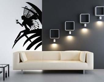 Wall Vinyl Sticker Decals Mural Room Design Girl Fairy Wings Leaves Beauty Magic Star mi058