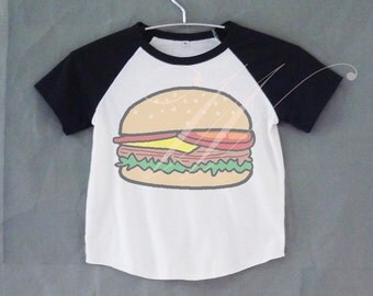 Hamburger tshirt short raglan shirt kids /off white clothing for 12M/2T/ 4T/ 6-10 years