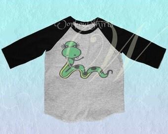 Snake  shirt Toddler tshirt /raglan shirt kids clothing for 12M/2T/ 4T/ 6-10 years